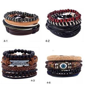 Other - 4pc Adjustable Leather Bracelets